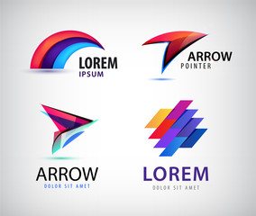 Vector set of abstract 3d colorful logos.