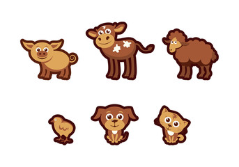 Farm animals vector. Young animals cartoon. Set of cute animals from the farm