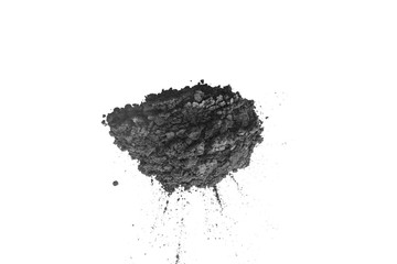 Activated charcoal powder shot with macro lens, above view