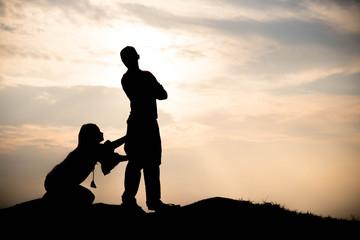 Silhouette of couple love argue, argue concept
