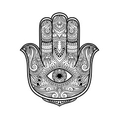Black and white illustration of a hamsa hand symbol. Hand of Fatima religious sign with all seeing eye. Vintage boho style. Vector illustration in doodle zentangle style