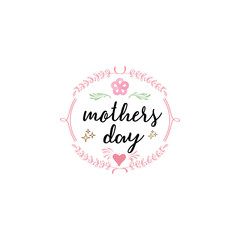 Badge as part of the design - Mothers day. Sticker, stamp, logo - hand made.