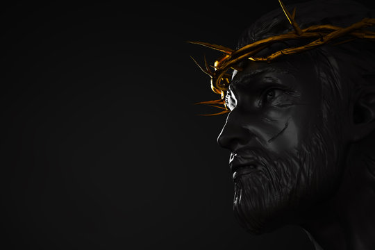 Jesus Christ Statue with Gold Crown of Thorns 3D Rendering Side Angle Empty Space
