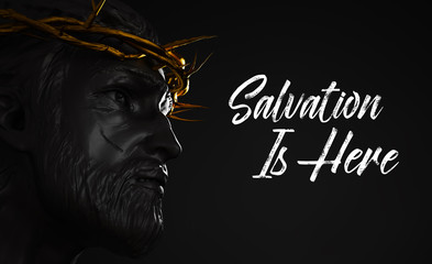Salvation is Here Jesus Christ Statue with Gold Crown of Thorns 3D Rendering Side Angle