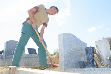 groundskeeper in cemetary