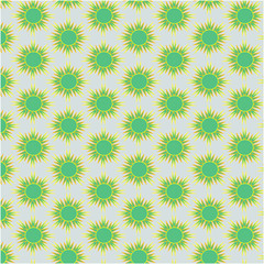 Abstract seamless pattern of small green sun with sharp rays on a gray background for printing, textile