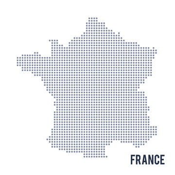 Vector dotted map of France isolated on white background .
