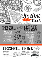 Pizza menu restaurant, food template.