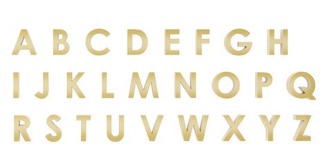 3D Rendering Gold English alphabet a to z isolated on white background, clipping path inside