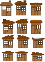 Collection of Wooden Houses and Sheds Vectors