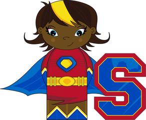 S is for Superhero Alphabet Learning Illustration