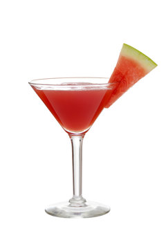 isolated watermelon martini with slice