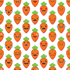 Seamless background with Carrots emotions.