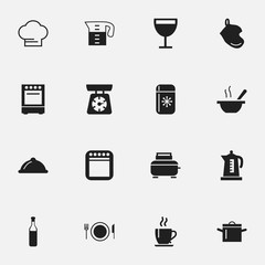 Set Of 16 Editable Cooking Icons. Includes Symbols Such As Plate, Oven, Cooker And More. Can Be Used For Web, Mobile, UI And Infographic Design.