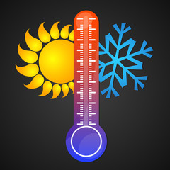 Thermometer, sun and snowflake vector