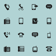 Set Of 16 Editable Phone Icons. Includes Symbols Such As Talking, Radio Talkie, Mobile And More. Can Be Used For Web, Mobile, UI And Infographic Design.