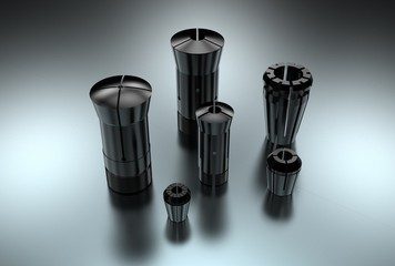 3D illustration of metal collets for instruments for heavy industry