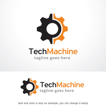 Tech Machine Logo Template Design Vector, Emblem, Design Concept, Creative Symbol, Icon