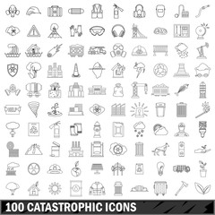 100 catastrophic icons set, outline style