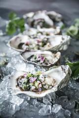 Oysters with Serrano-Cilantro Mignonette
