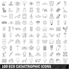 100 eco catastrophic icons set, outline style