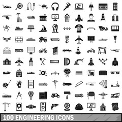 100 engineering icons set, simple style