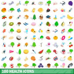 100 health icons set, isometric 3d style