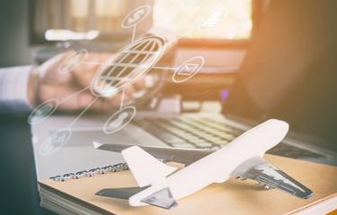 Business man booking online flight on smartphone