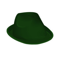 Green unisex fashion hat, summer panama hat isolated vector