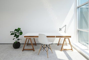 Modern trestle desk or office table