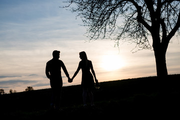 Verliebtes Paar schaut in Sonnenuntergang mit Baum als Silhoutte
