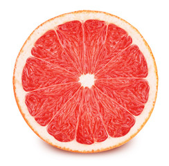 Half of red grapefruit isolated on white