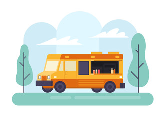 Street fast food truck. Side view. Vector illustration