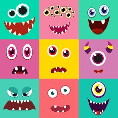 Set of cute monster face. Vector illustration.