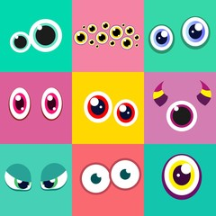 Set of cute monster eyes. Vector illustration.