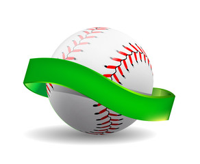 baseball on white background with green ribbon.