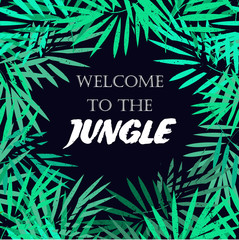 Tropical leaves frame. Jungle border