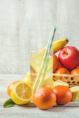 fresh lemon juice, lemonade with fruit for dessert. Selective focus.