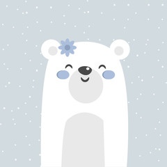 Cool and cute polar bear illustration. Cartoon bear. Vector stock.