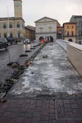 Cantiere rifacimento pavimentazione cittadino