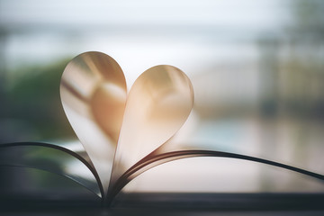 Open book with pages forming heart shape with feeling love and romance