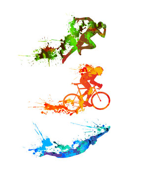 Triathlon set. Splash paint silhouettes