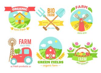 Agro badges cartoon vector illustartion