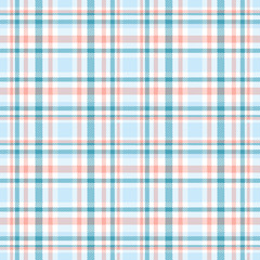 Seamless tartan plaid pattern. Checkered fabric texture print in stripes of pale blue, teal blue, faded red and white.