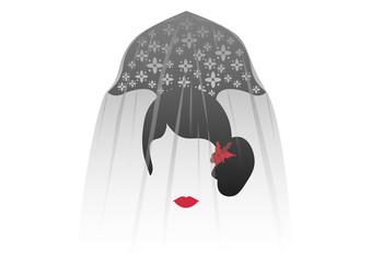 Portrait of traditional Latin or Spanish woman veiled in modern representation, flamenco dancer, Vector illustration transparent background