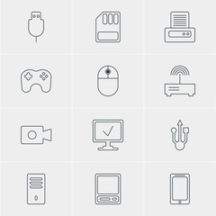 Vector Illustration Of 12 Computer Icons. Editable Pack Of Pda, Printer, Smartphone And Other Elements.