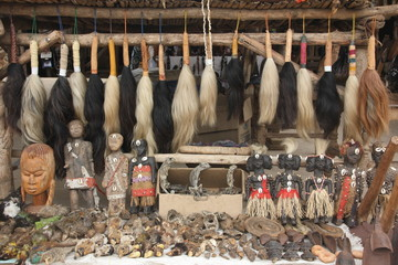 Voodoo paraphernalia market stall, Akodessawa Fetish Market, Lomé, Togo / This market is located in Lomé, the capital of Togo in West Africa and is is largest voodoo market in the world.