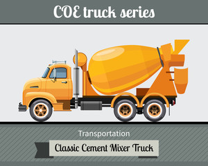 Classic COE (cab over engine) cement mixer truck side view. Mixer truck Vector illustration clipart
