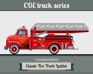 Classic COE (cab over engine) fire truck ladder side view. Vector illustration clipart
