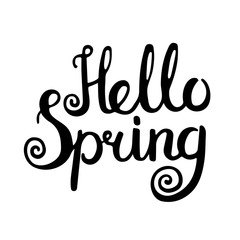 Hello spring lettering. Vector hand drawn inspirational quote for your design. Good for posters, cards, labels. Isolated. On white background.